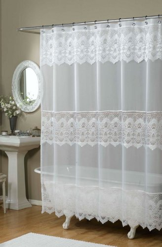 Emily Embroidered Shower Curtain Color White Rings N Rollers