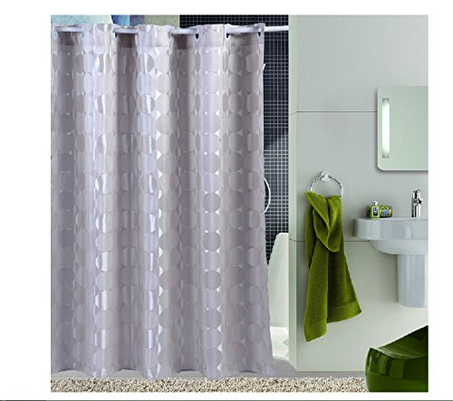 Eforcurtain Cicle Pattern Waterproof Shower Curtain 72 Inch By 78 Inch X Long Light Grey Gray