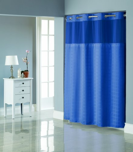 Hookless Square Tile Jacquard Shower Curtain With Snap In Fabric Liner Moonlight Blue Rings N
