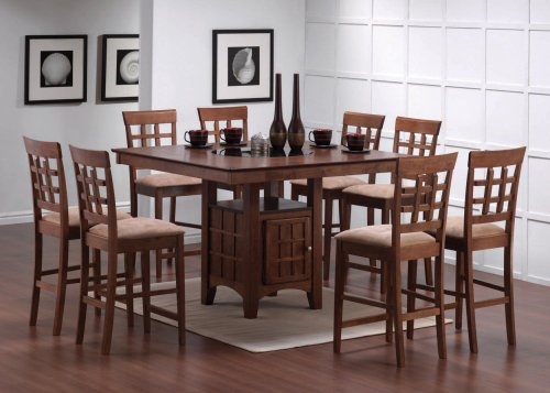 9pcs contemporary walnut counter height dining table 8 stools set collections