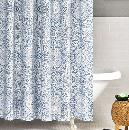 Nicole Miller Fabric Shower Curtain Teal Blue Moroccan