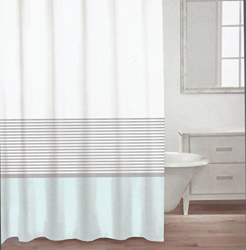Caro Home Fabric Shower Curtain Teal White And Silver Stripe Rings N Rollers