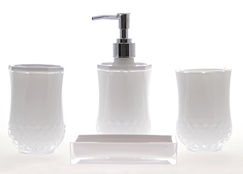 JustNile Acrylic 4-Piece Bathroom Accessory Set – Opaque White