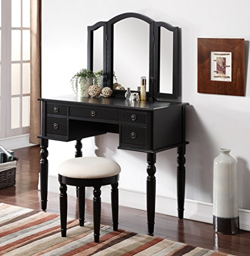 3 Piece Wooden Make Up Mirror Vanity Dresser Table And Stool Set Black Rin
