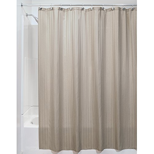 Interdesign Satin Stripe Soft Fabric Shower Curtain 72 X 84 Taupe Rings N Rollers