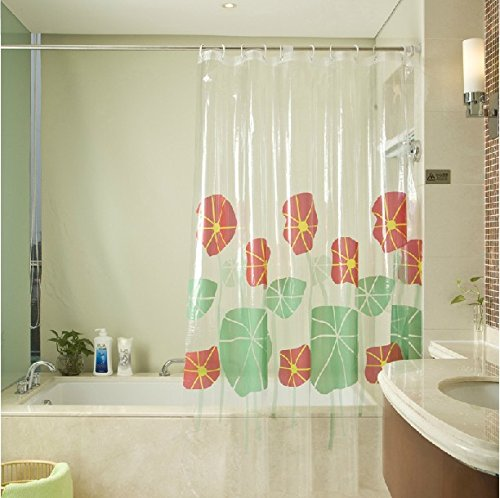 Graceful Thickened Clear PVC Shower Curtain With Elegant
