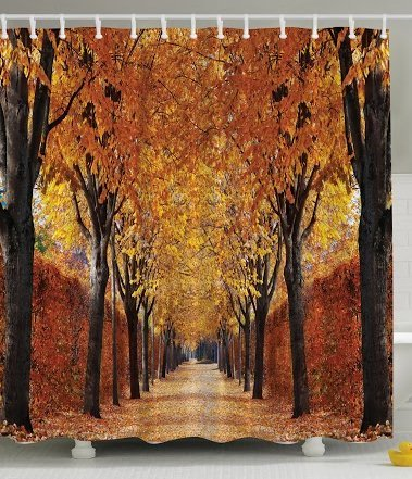 Fall Road Print Polyester Fabric Shower Curtain
