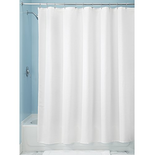 Interdesign Paxton Soft Fabric Shower Curtain Luxury Hotel Long 72 X 84 White Rings N Rollers