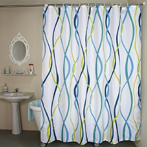 Striped Fabric Shower Curtain Extra Wide White Blue Yellow Rings N Rollers