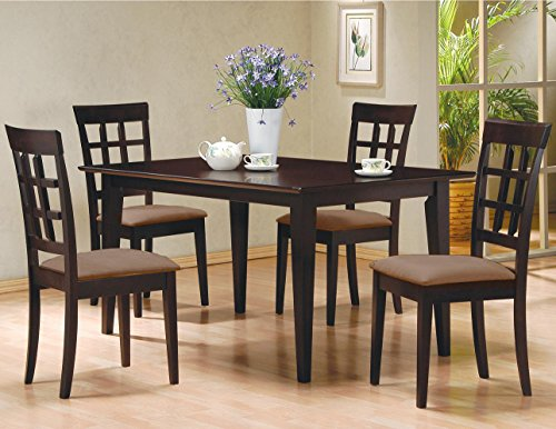 5 pc espresso brown 4 person table and chairs dining for 4 person dining table set