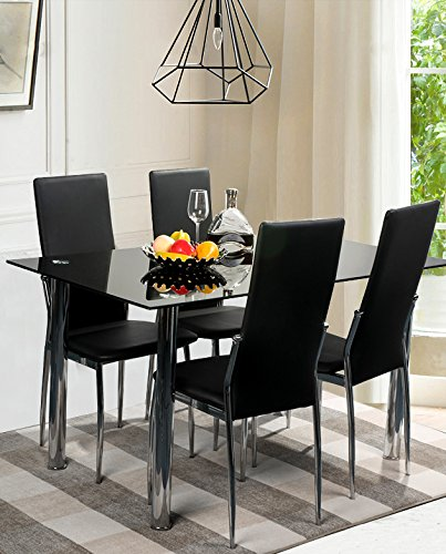 merax 5 piece dining set glass top metal table 4 person table and
