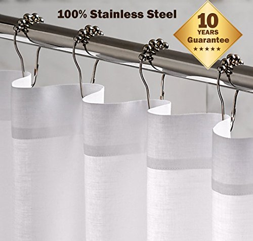 100 Rustproof Stainless Steel Shower Curtain Rings Hooks Polished Chrome Hotel Highest