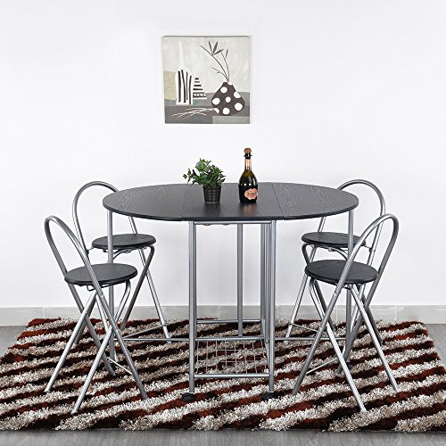 VECELO 5pc Drop Leaf Kitchen Dinette Table Cart with 4  : 615BCOnVsqL from rings-n-rollers.com size 500 x 500 jpeg 64kB