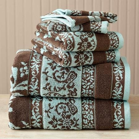 Better Homes And Gardens Thick And Plush 6 Piece Jacquard Cotton Bath Towel Set Rings N Rollers