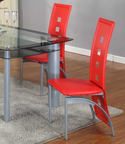 Dining Room Set With Red Chairs: Roundhill Furniture Cinda Metal Contemporary Dining Room Chairs, Red, Set Of 2
