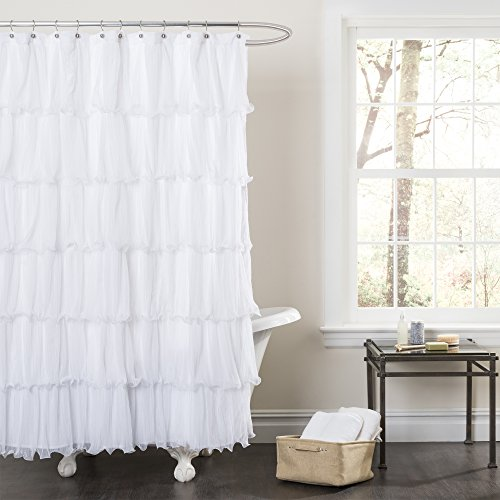 Lush Decor Nerina Shower Curtain 72 X 72 White Rings N Rollers
