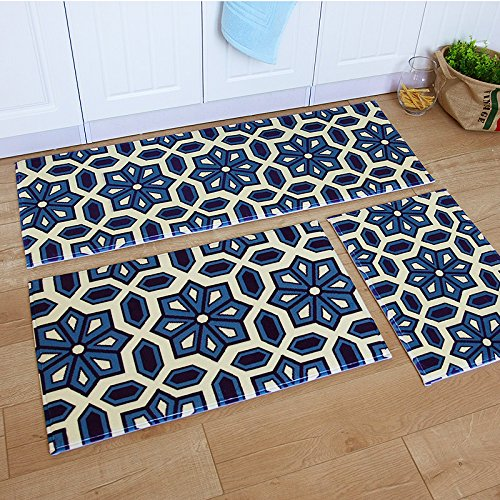 Ustide 3 Piece Bohemia Washable Bathroom Rug Kitchen