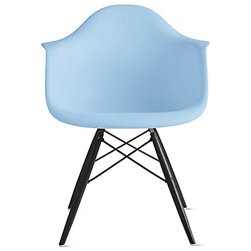 2xhome blue eames style armchair black wood legs for Wood dining room chairs with arms