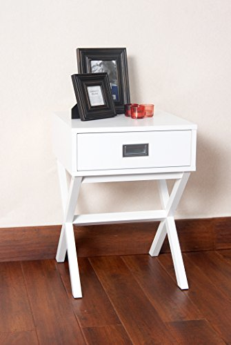 White Finish Modern X-Shape Accent Side End Table