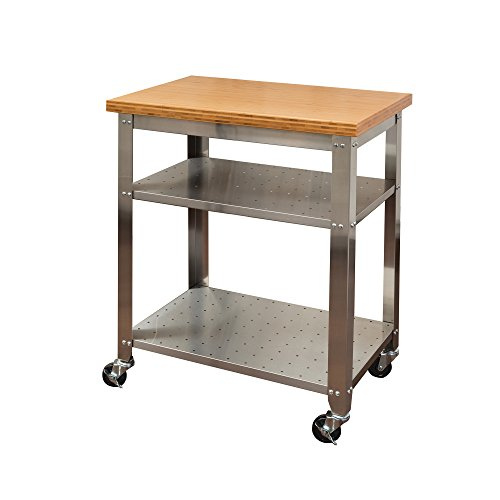 Stainless Kitchen Cart: Seville Classics Stainless Steel Kitchen Cart With Bamboo