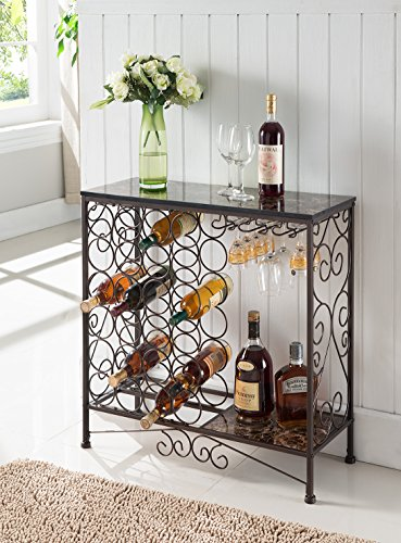 Kings Brand Furniture Metal With Marble Finish Top Console Table With Wine Rack Rings N Rollers