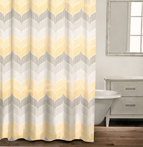 Caro Home 100 Cotton Shower Curtain Wide Stripes Chevron Fabric Shower Curtain Zig Zag White