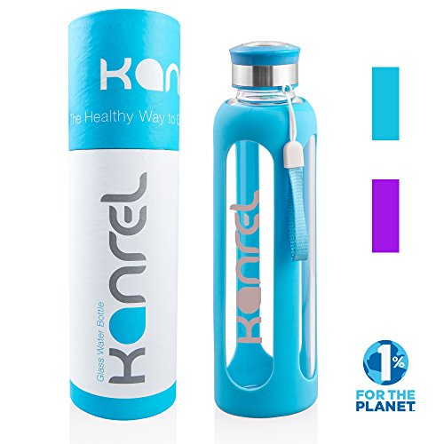 32 Ounce Glass Water Bottle By Kanrel 174 Blue 32 Oz Large