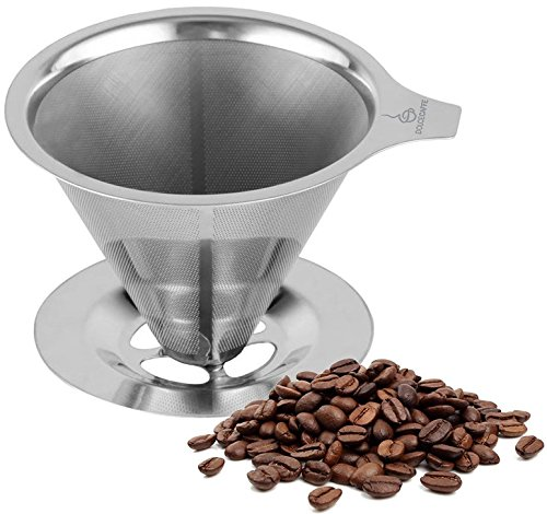 Best Stainless Steel Coffee Dripper Reusable Pour Over Coffee Maker Heat-Resistant Handle ...