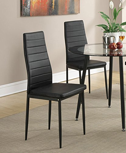 Retro Style Black Faux Leather Dining Chairs Set Of 4 By