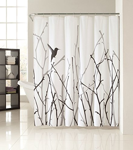 Black white gray nature artistic fabric shower curtain Nature inspired shower curtains