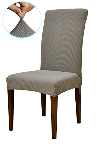Subrtex knit stretch dining room chair slipcovers 4 gray for 4 dining room chair covers