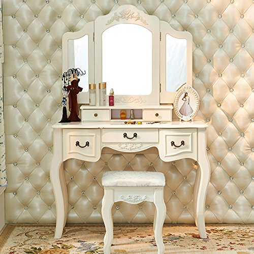 Tribesigns French Vintage Ivory White Vanity Dressing