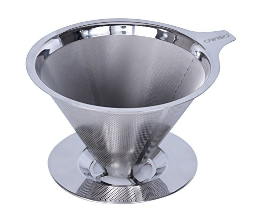 Ovviso Stainless Steel Reusable Coffee Filter Paperless Pour Over Coffee Dripper Metal ...