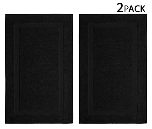 Cotton Craft 2 Pack Bath Mat Black 100 Ringspun