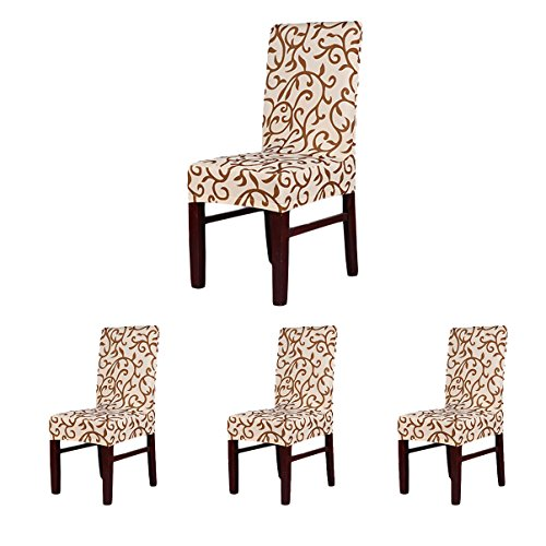 4 x soft fit stretch short dining room chair covers