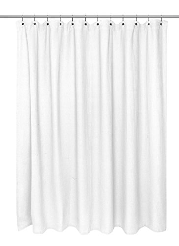 Carnation Home Fashions Waffle Weave Cotton Shower Curtain Standard Size 72 Inch By 72 Inch