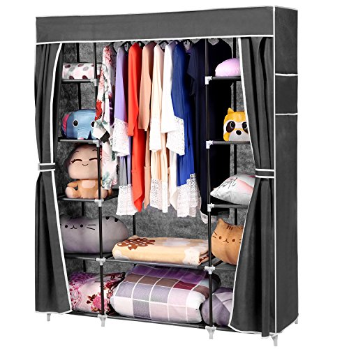 Homdox 66inch Portable Wardrobe Metal Fabric Closet Organizer Storage With Cover And Side