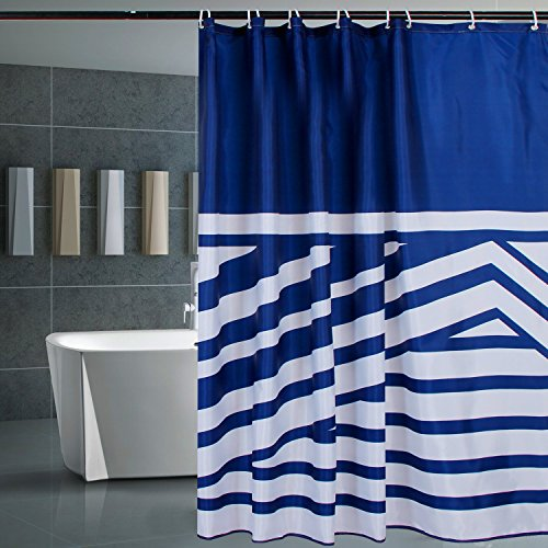 Norcho 72 X72 Anti Bacterial Mildew Resistant Shower Curtain Liner With Rolling Ring White Blue