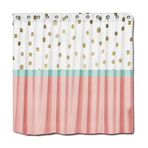 Yyt Personalized Shower Curtains Coral Teal Color Block Gold Foil Polka Dots Shower Curtain 72