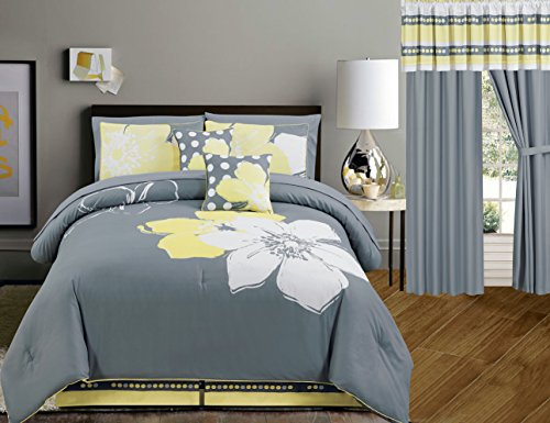 Yellow Grey White Floral Bed In A Bag Double Full Size Bedding Sheets Curtains Accent