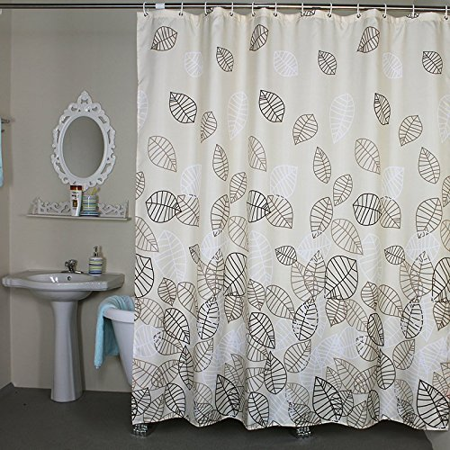 Bathroom Fabric Bath Shower Curtain Set Leaves Bath Shower