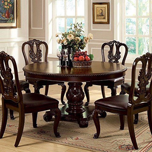 7 Piece Dining Table Set: Bally English Style Brown Cherry Finish 7-Piece Formal
