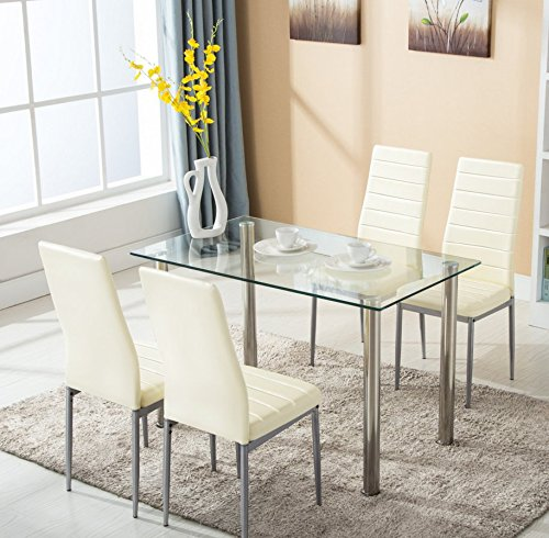 Glass Kitchen Sets: 5pc Glass Dining Table With 4 Chairs Set Glass Metal