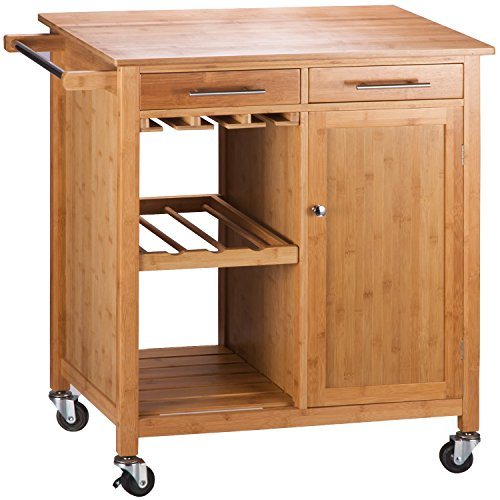 Merax Bamboo Kitchen Storage Trolley Cart With Two Drawers And Shelves Rings N Rollers