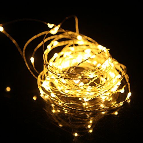 HDE Dimmable LED Fairy String Lights [Copper Wire] Waterproof Light Strand [Wireless Remote ...