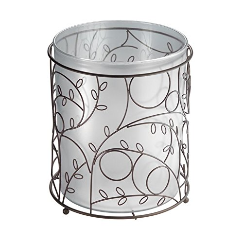 Mdesign Decorative Wastebasket Trash Can For Bathroom Office Kitchen Clear Bronze Rings N