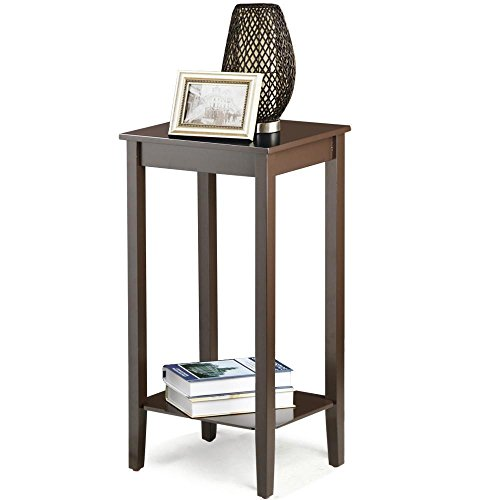 Topeakmart wood coffee table tall bedside nightstand How tall is a nightstand
