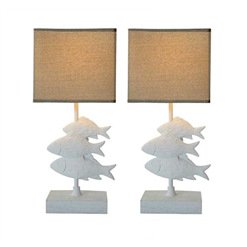 Creative coop fish lamp with burlap shade set of 2 rings n rollers - Creative lamp shades ...