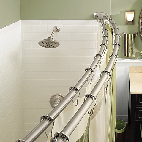 Adjustable Double Curved Brushed Nickel Shower Rod With Easy Installation Rings N Rollers