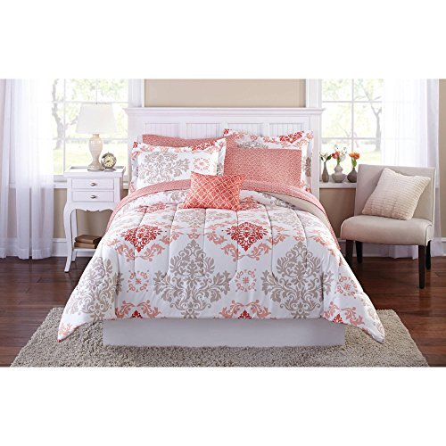 Teen Girls Pink Coral Damask 6 Piece Comforter Set TWIN